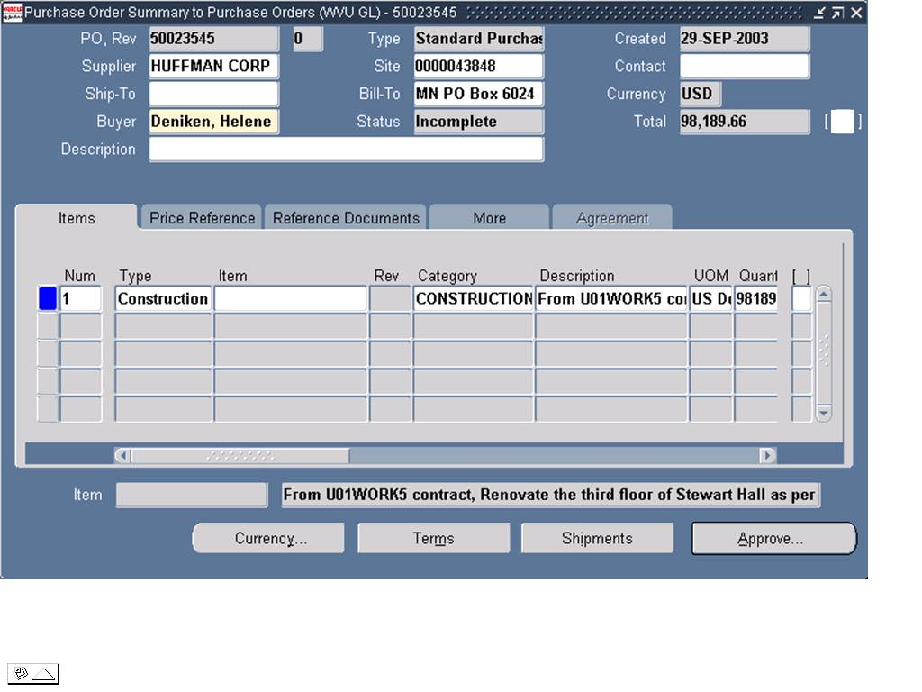 autocreating a standard purchase order